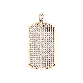 925 iced out sterling silver pendant - MINI DOG TAG gold
