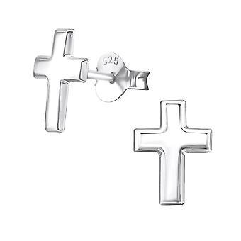 Cross - 925 Sterling Silver Plain Ear Studs - W20905X