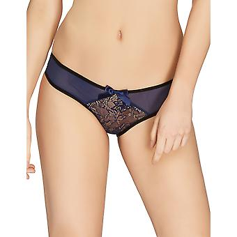 Mio Classic Bluebell Navy and Gold Lace Brief M156C
