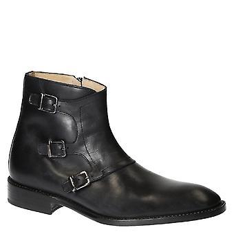 Sangle de moine en cuir noir 3 bottes pour hommes