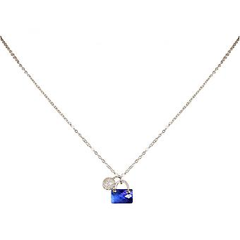 Women - child - pendant - necklace - 925 Silver - handbag - Stardust ball - Violet Blue - 45 cm