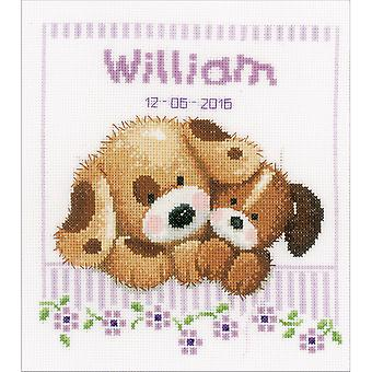 Cuddling Dogs Birth Record On Aida Counted Cross Stitch Kit-8
