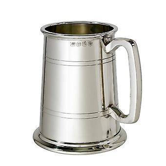 Double Lined Glass Base 1 Pint Heavy Pewter Tankard