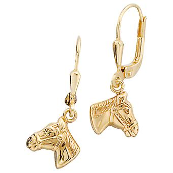 Earring earrings boutons horse heads, 333 / - Gelbgold, height approx. 23.8 mm children's jewellery
