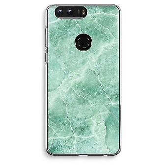 Honor 8 Transparent Case (Soft) - Green marble