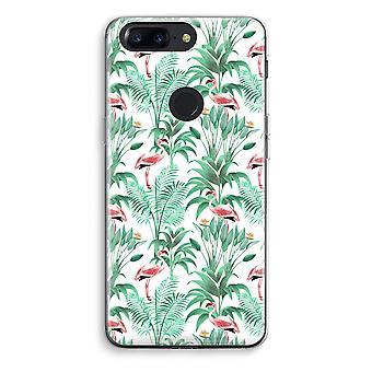 OnePlus 5T Transparent Case (Soft) - Flamingo leaves