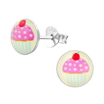Cupcake - 925 Sterling Silver Colourful Ear Studs - W19737x