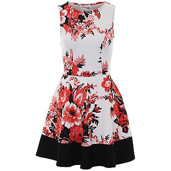 Ladies Sleeveless Textured Crepe Floral Block Hem Party Skater Flare Dress