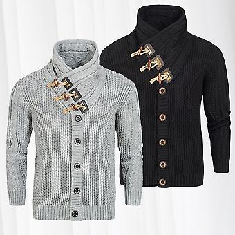 Men's Sweaters Sweaters Knit Knits Norwegian Knitjackets Knit funnel-neck decorative buttons