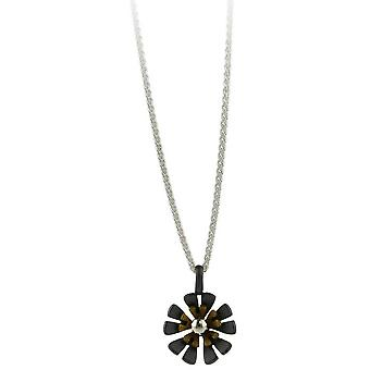 Ti2 Titanium Black Back Ten Petal Flower Pendant - Tan Beige
