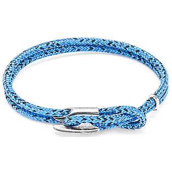 Anchor and Crew Padstow Silver and Rope Bracelet - Blue Noir