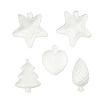 5 Assorted Small Polystyrene Christmas Baubles to Decorate - 7cm to 8cm