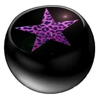 Piercing remplacement boule noire, bijoux de corps, Purple Star Leo | 1,6 x 5 et 6 mm