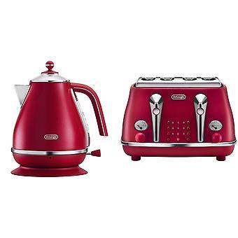 DeLonghi elementos chaleira e torradeira conjunto vermelho