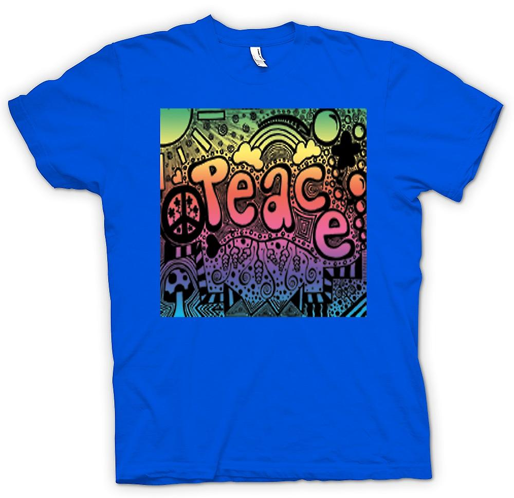 Mens T-shirt - Peace Hippy Psychedelic Design