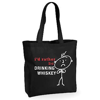Mens I'd Rather Be Drinking Whiskey Black Cotton hopping Bag