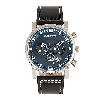 Breed Ryker Chronograph Leather-Band Watch w/Date - Black/Blue
