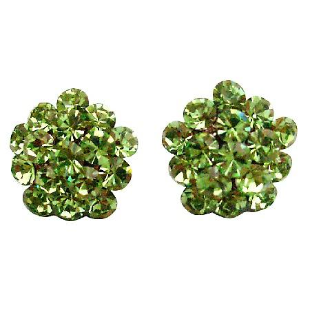Dazzling Green Flower Earrings Sparkling Crystals Jewelry
