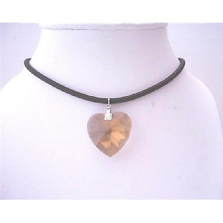 Smoked Topaz Crystals Xilion 28mm Heart Pendant Black Chord Necklace