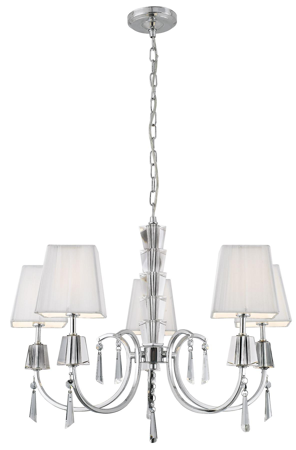 Portico Chrome With Glass And Crystal Five Light Ceiling Light With Shades - Searchlight 6885-5CC