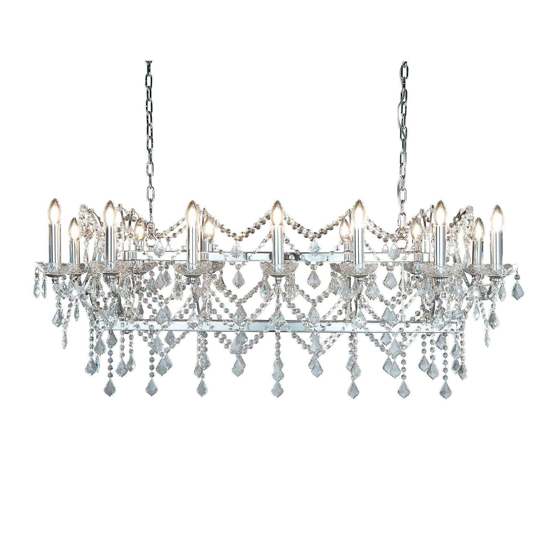 Florence Chrome And Crystal Fourteen Light Chandelier - Searchlight 80614-14CC
