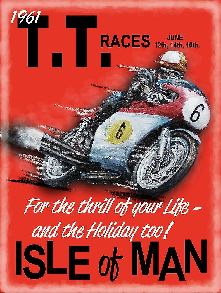 Isle of Man TT 1961 small metal sign  (og 2015)