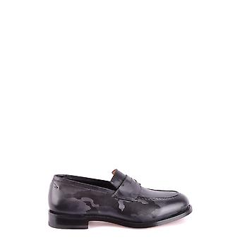 Santoni Grey Leather Loafers
