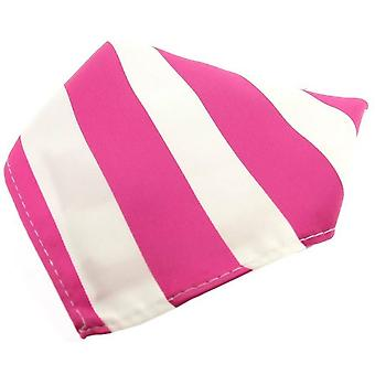 David Van Hagen Striped Polyester Pocket Square - Fuchsia/White