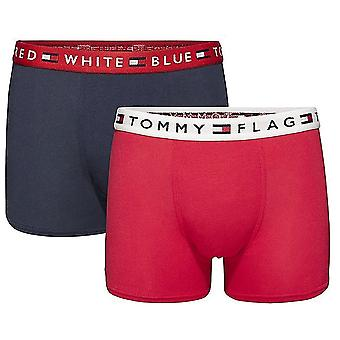 Tommy Hilfiger Boys 2 Pack REMIX Boxer Trunk, Tango rood / Navy Blazer, Medium