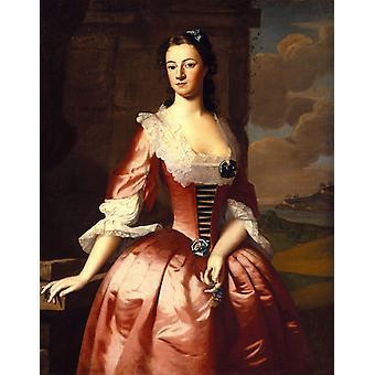 Portrett av en kvinne, Robert Feke, 50x40cm