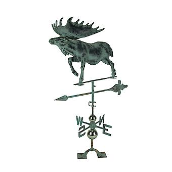 Verdigris Patina Metal Bull Moose Weather Vane with Roof Mount