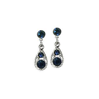 Evige samling filigran Montana Blue Crystal sølv Tone dråbe gennemboret øreringe