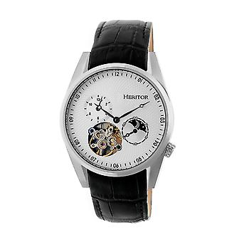 Heritor Automatic Alexander Semi-Skeleton Leather-Band Watch - Silver/White