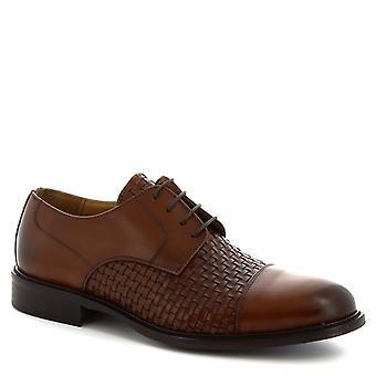Zapatos Leonardo Zapatos de encaje hechos a mano en piel de becerro tejida en color bronceado