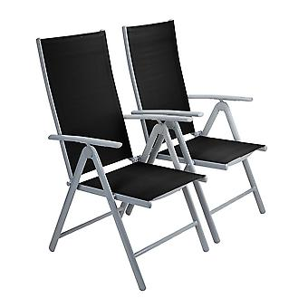 Strong Adjustable Aluminium Folding Garden Dining Chair Seats (2 Pack | Black)