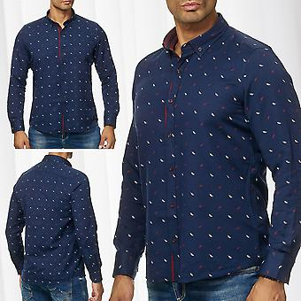Chemise homme Casual Long Sleeve Pattern Button Down Collar Classic Business Slim