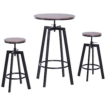 HOMCOM 3 Pieces Bar Table 2 Stools Set Round Dining Chairs Steel Pub Adjustable Height Wooden Top Kitchen