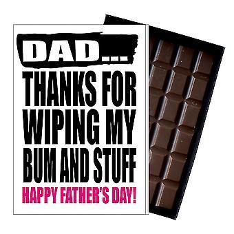 Grappige vaders dag cadeau domme chocolade aanwezig onbeleefd kaart voor papa DADIYF125
