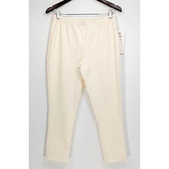 Femmes avec contrôle Petit Pantalon MP Stretcvh Taille Tricot Cropped Pantalon Ivoire