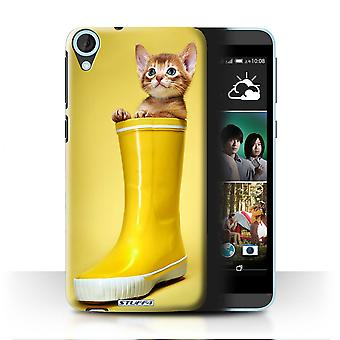 STUFF4 Case/Cover for HTC Desire 820s Dual/Wellington Boot/Cute Kittens