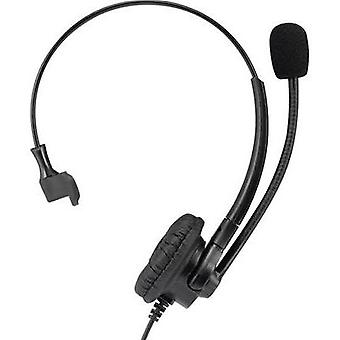 Phone headset QDCs (Quick Disconnect) Corded, Mono Basetech KJ-380M On-ear
