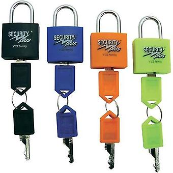 Padlock 4-piece set Security Plus V 22-4 Neon yellow, Blue, Orange, Black Key lock