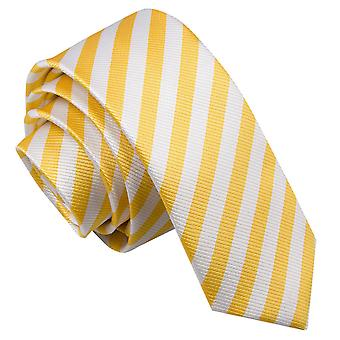 Men's Thin Stripe White & Yellow Skinny Tie
