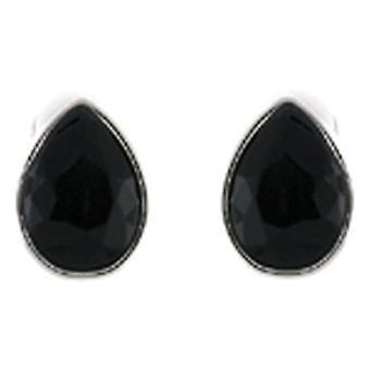 Clip On Earrings Store Jet Black Facet Crystal Stone Teardrop Clip On Earrings