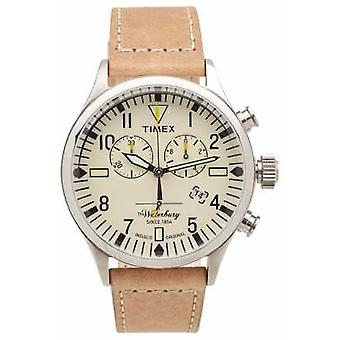 Timex Mens The Waterbury Chronograph Beige Leather Strap TW2P84200 Watch