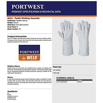 Portwest A511 Welders Gauntlet Flame Resistant Leather Work Gloves Hardwearing