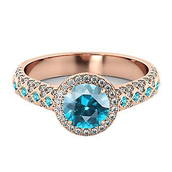 Blue Topaz 2.50 ctw Ring with Diamonds 14K Rose Gold Vintage Micro Pave Halo