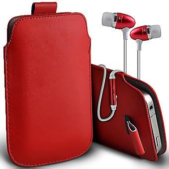 ( Red + Earphones) Pouch Case For Xiaomi Redmi Note 4 16 GB case Premium Stylish Faux Leather Pull Tab Pouch Skin Case Various Colours To Choose From With High Quality Fitted in Ear Buds Stereo Hands Headphones Headset with Built in Micro phone Mic and On-Off Button Xiaomi Redmi Note 4 16 GB Cover By i-Tronixs