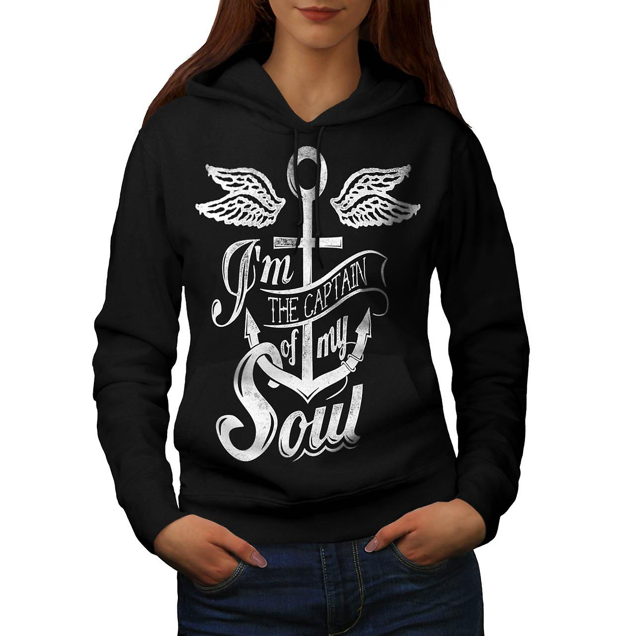 Captain Of My Soul Boat Cruise Women Black Hoodie | Wellcoda