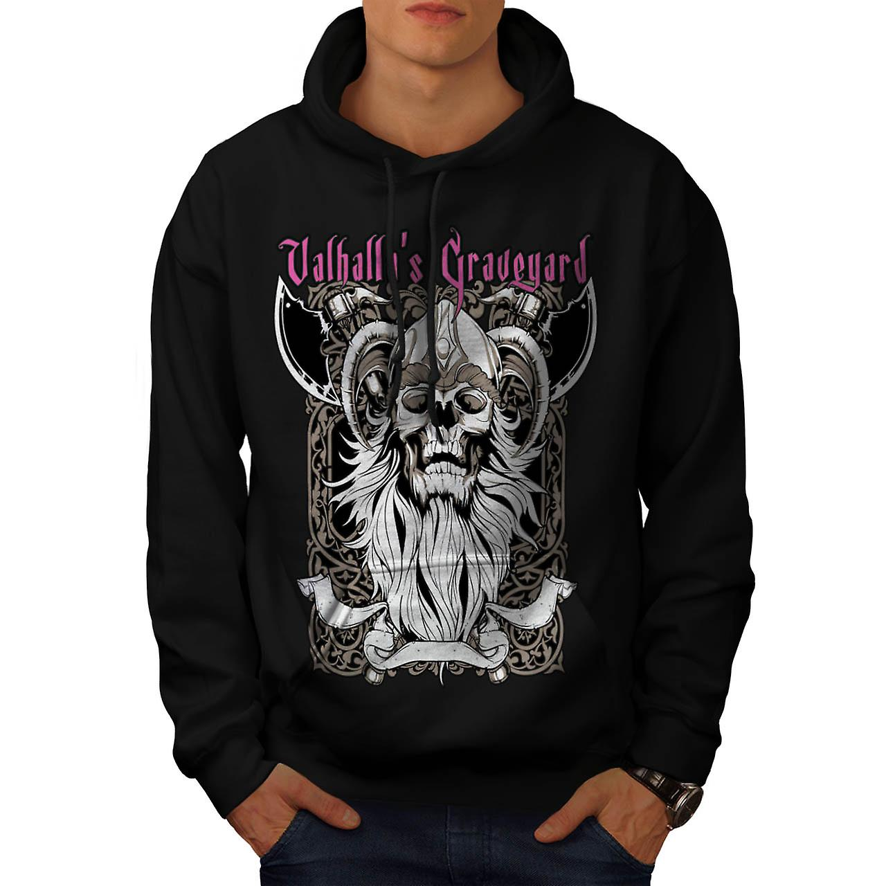 Valhalla Graveyard Monster Skull Men Black Hoodie | Wellcoda